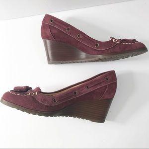 Cole Haan nikeair maroon wedge tassel heels size 8